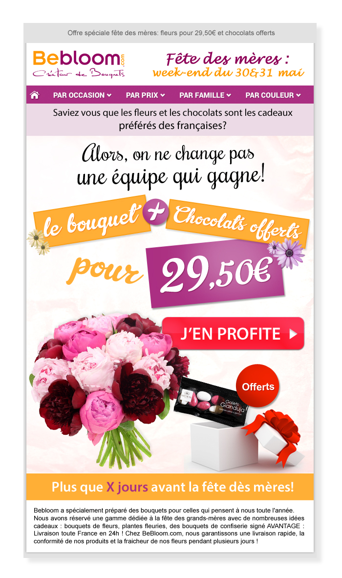Email Bebloom le bouquet + chocolats offerts