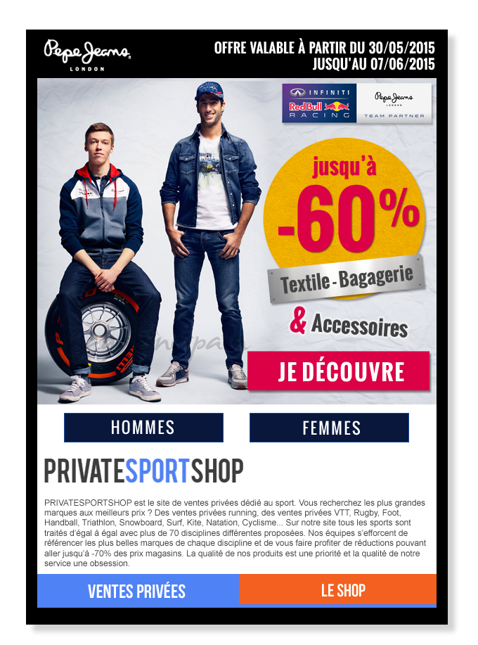 Email Private Sport Shop for Pepe Jeans