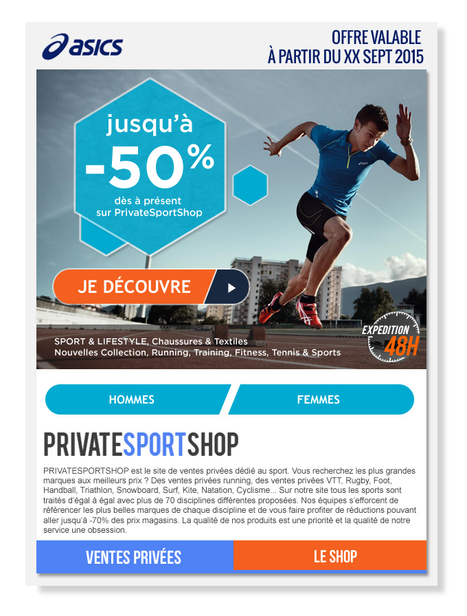 Email Private Sport Shop for Asics