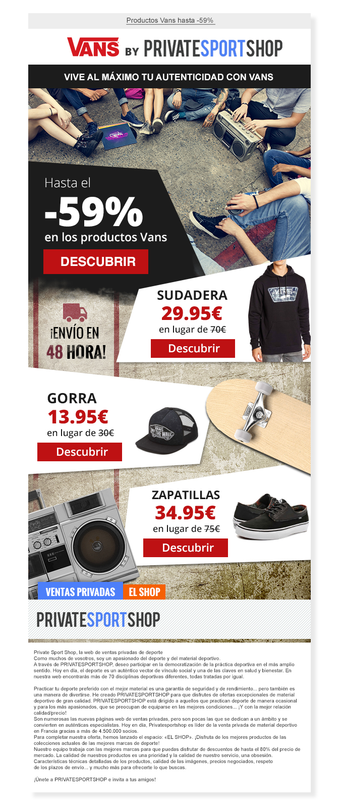 Email Private Sport Shop for Vans